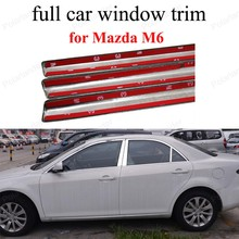 For M azda M6 with center pillar full Window Trim Stainless Steel font b Exterior b