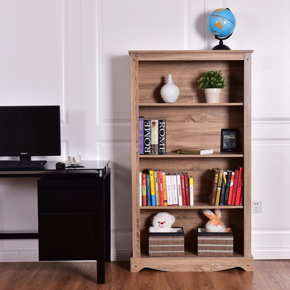 Living Room With Bookshelf: Giantex 4 Tier Bookcase Cabinet Storage Organization