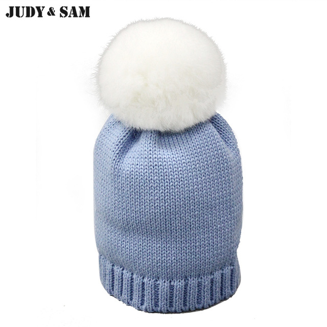 bc0980f868a New Born 100% Cotton Soft Baby Bobble Beanie Genuine Rabbit Fur Pom Hats  Fluffy Knitted