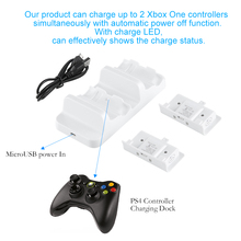 Palissi Dual Charger Stand Charging Dock Station with 2pcs free Rechargeable Batteries For Xbox One S Gamepad Controller