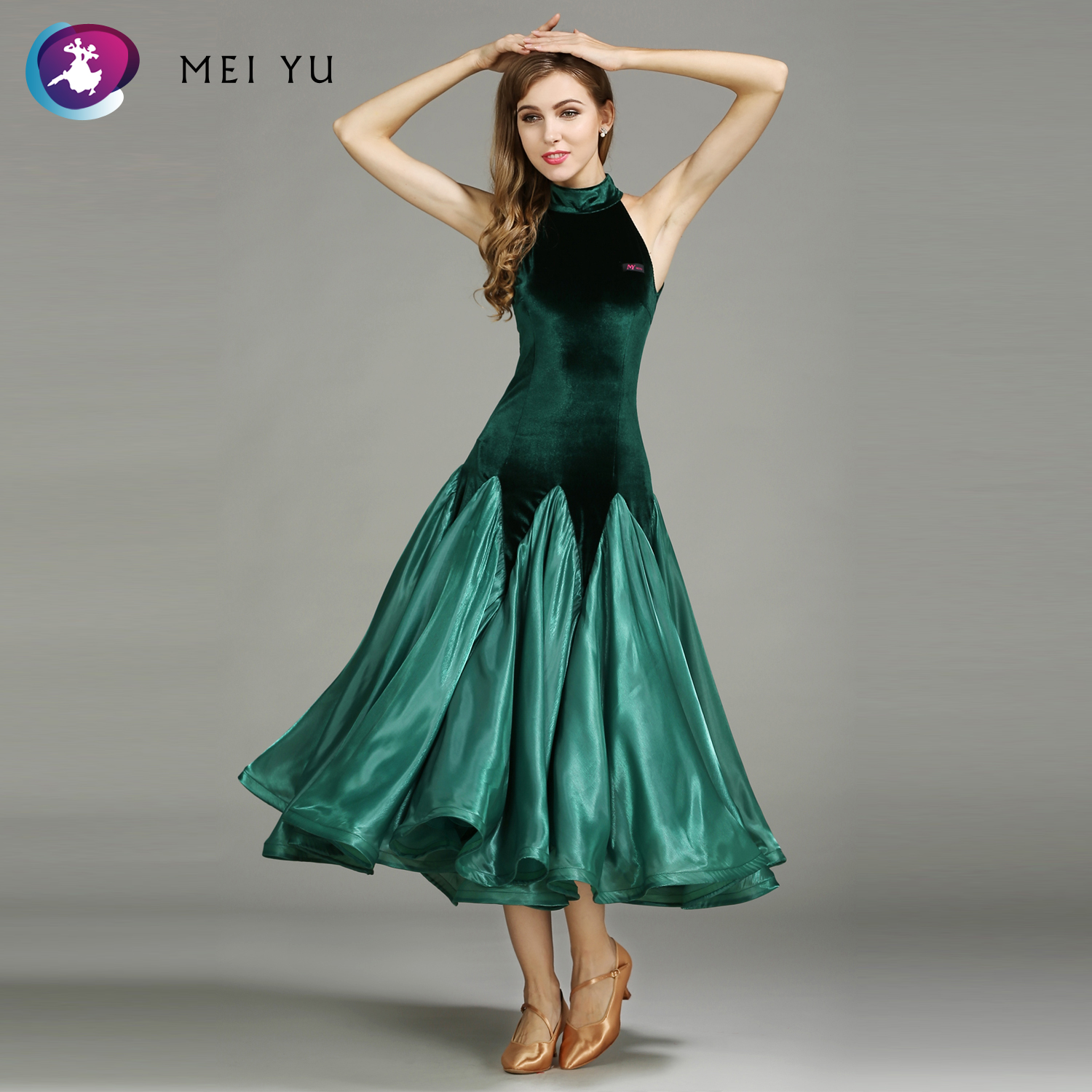 Stage & Dance Wear Mei Yu My758 Modern Dance Costume Women Lady Adult Waltzing Tango Ruffled Dancing Dress Ballroom Costume Evening Party Dress