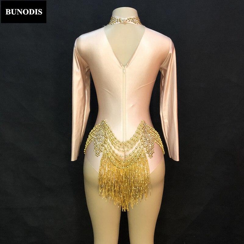 Body Sexy Or De Femmes Couleur Porter Cristaux Discothèque Salopette Danseur La Stage Mousseux Chanteur Costumes Parti Gland Zd378 Peau 0B4qYfwq5