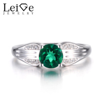 Leige Jewelry Emerald Ring Promise Rings Round Cut Green Gemstone May Birthstone 925 Sterling Silver Wedding