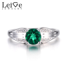 Leige Jewelry Emerald Ring Promise Rings Round Cut Green Gemstone May Birthstone 925 Sterling Silver Wedding Gifts Vintage Rings