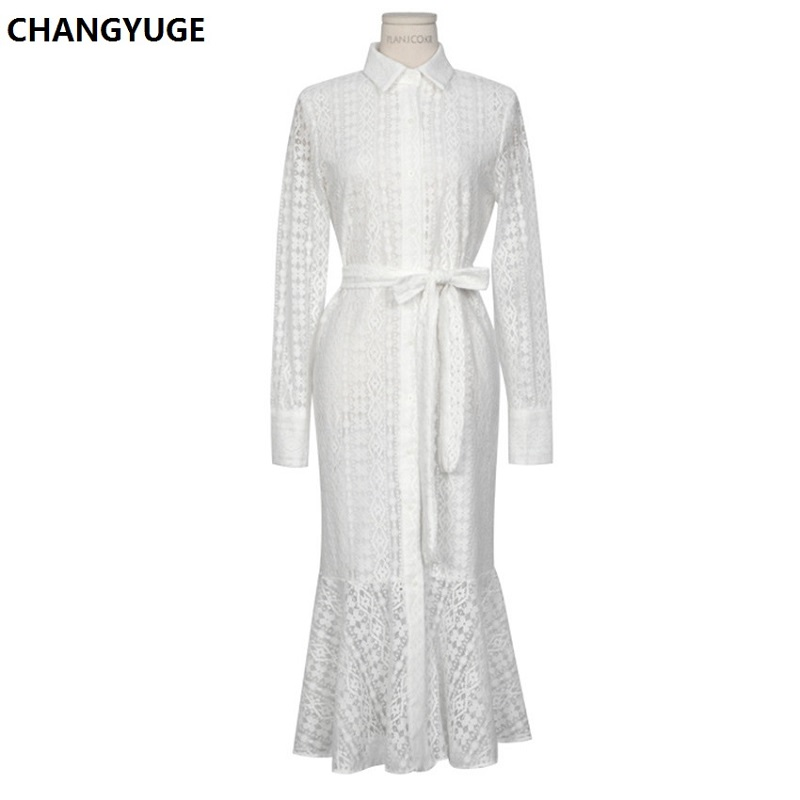 Breasted Bandage Elegant Mermaid Female Vintage Hollow out Lace Women Long Dress Single Dress Full Sleeve Spring Vestidos femme in Dresses from Women 39 s Clothing