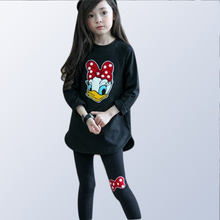 Children's autumn wear girls clothes suits kids cartoon sports set girls pure cotton tops + pants  2pcs for 3 5 7 8 10 years old недорого