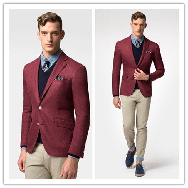 2016 Мода Повседневная Мужская slim fit пиджак пиджак бордовый льняные блейзеры для мужчин