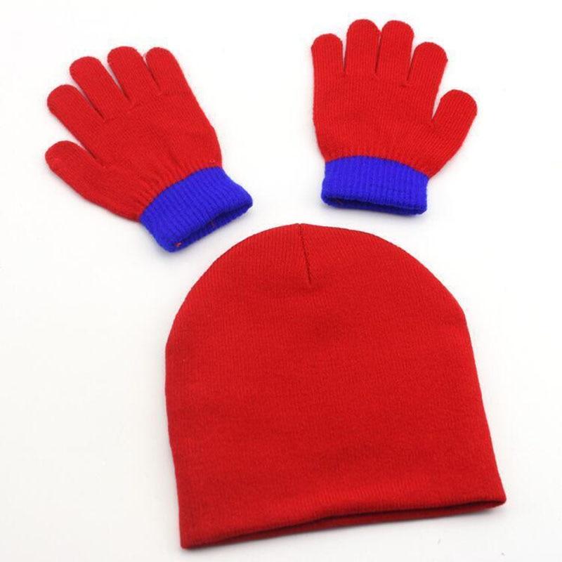 BINGYUANHAOXUAN-Autumn-Winter-Girls-Boys-Hat-Set-Cartoon-Spider-Man-Warm-Cap-knitted-Hat-Gloves-Children-Hat-Sets-Bonnet-Gorro-3