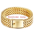 Perfect Technology Yellow Gold Bling Jewelry 316L Stainless Steel Charming New Mens Boys 3Row Figaro Chain Bracelet Bange