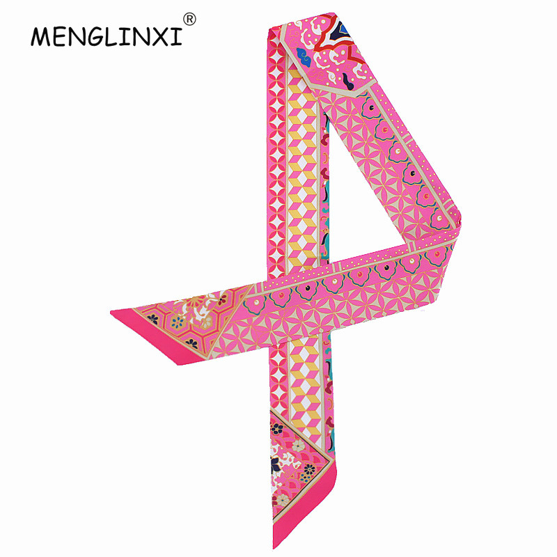 2019 New Geometric Floral Print Silk Scarf Women Luxury Brand Scarf Bag Ribbons Fashion Head Scarf Small Long Skinny Scarves