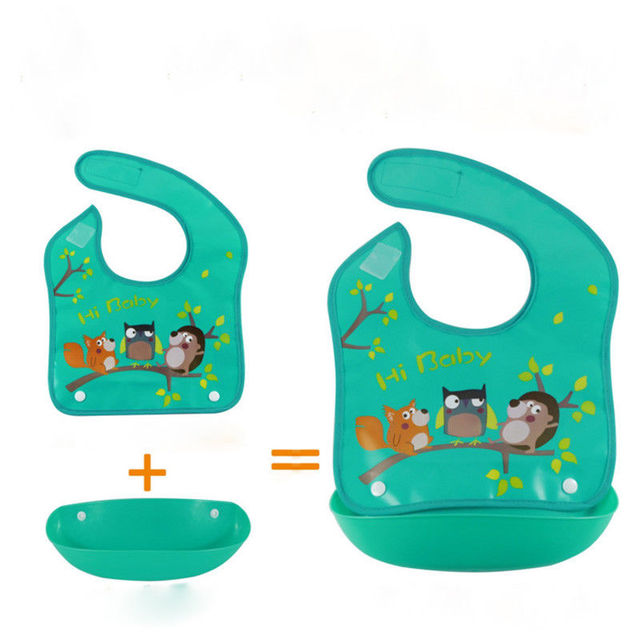 Hot Boys Girls Silicone Waterproof Bib Washable Roll Up Crumb Catcher Feeding Eating