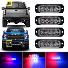 Red Blue 4LED Car Truck Emergency Beacon Warning Hazard Flash Recovery Strobe Light BARS 12V  waterproof