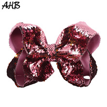 AHB 8 Inch Sequin Large Hair Bows for Girls with Clips Fashion Solid Rainbow Bowknot Hairgrips Party Dance Kids Headwear