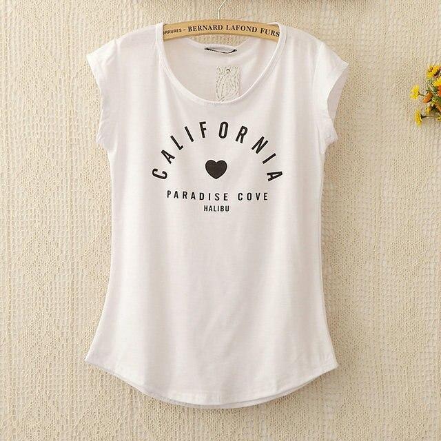 Primavera 2015 nova T16 de letras impressas solto Batwing manga e t-shirt de manga curta feminina Flange frete grátis