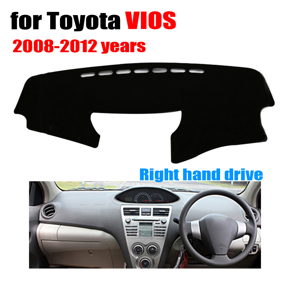 Car dashboard cover mat for toyota vios 2008 to 2012 years right hand drive dashmat pad