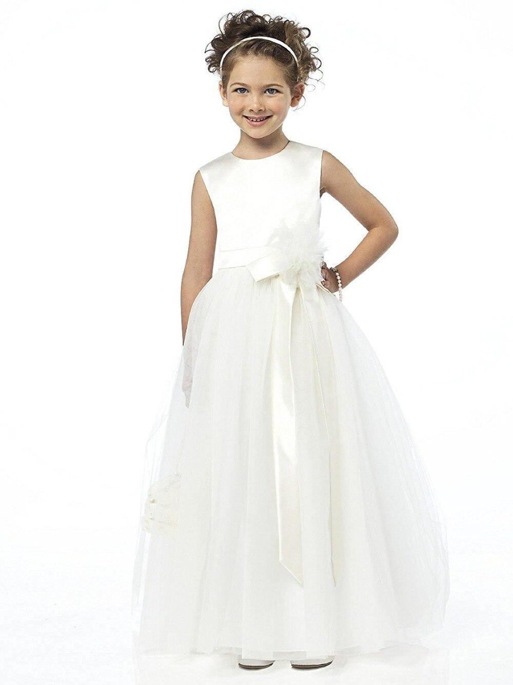 Ball Gown Tulle White First Communin   Dresses   Long   Flower     Girl     Dresses   2018