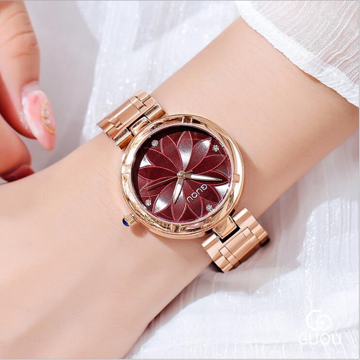 GUOU Relogio Feminino Women Watches Luxury Rose Gold Ladies Watch Fashion Trend Flower Pattern Dial Watch Women Saat Reloj Mujer luxury pear shell dial ladies watches fashion green quartz women watch rose gold milan mesh belt waterproof watch reloj mujer