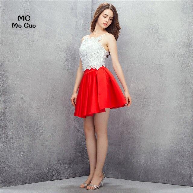 be23a0fe9 2017 blanco y rojo gasa Vestido corto Appliques cristales Correas cóctel  corto satén Homecoming prom dress