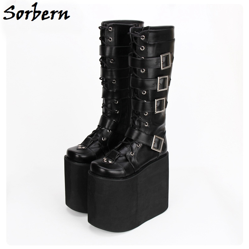 Sorbern Multi Buckle Straps Boots Zipper Spring Designer Brand Women Shoes Black Platform Boots Custom Color Studded Mid-CalfSorbern Multi Buckle Straps Boots Zipper Spring Designer Brand Women Shoes Black Platform Boots Custom Color Studded Mid-Calf