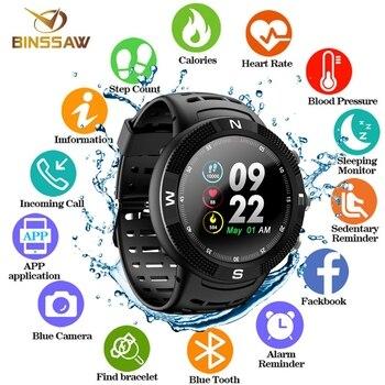 6b69c20b03c7 BINSSAW 2019 nuevo IP68 GPS a prueba de agua reloj inteligente F18 pantalla  a Color de gran batería oír Monitor de ritmo de las mujeres de los hombres  ...