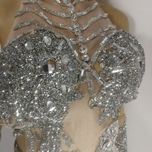 silver Crystals Bodysuit singer Sparkling sexy DS female costumes slim performance dress Bar DJ show party stage prom