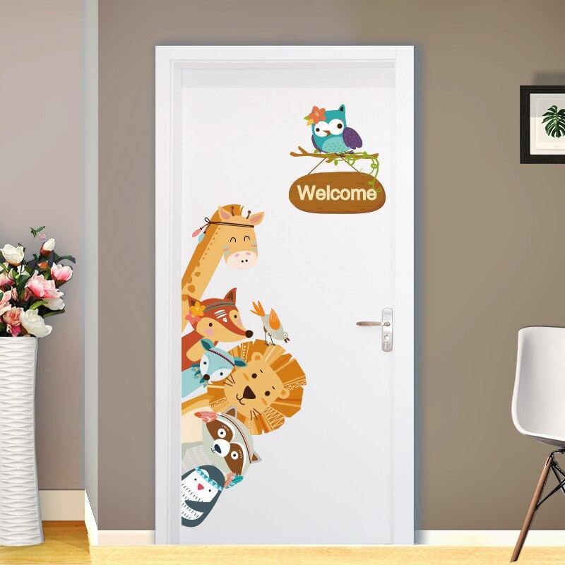 shijuekongjian Home Decor Cartoon Animals Wall Stickers Diy Children Mural Decals For Kids Rooms Baby Bedroom Wardrobe Door Decoration Pure And Mild Flavor