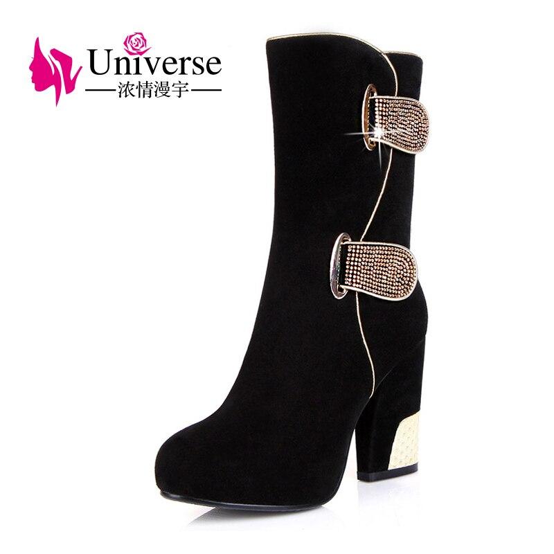 Universe Plus Size 4 5 8 5 Platform Mid Calf Boots Cow Suede Warm Plush Handmade