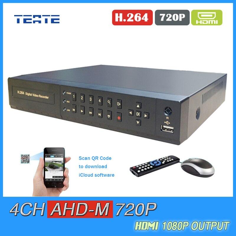 TEATE 4channel AHD M 720P DVR video Recorder HDMI 1080p Output DVR for AHD camera surveillance