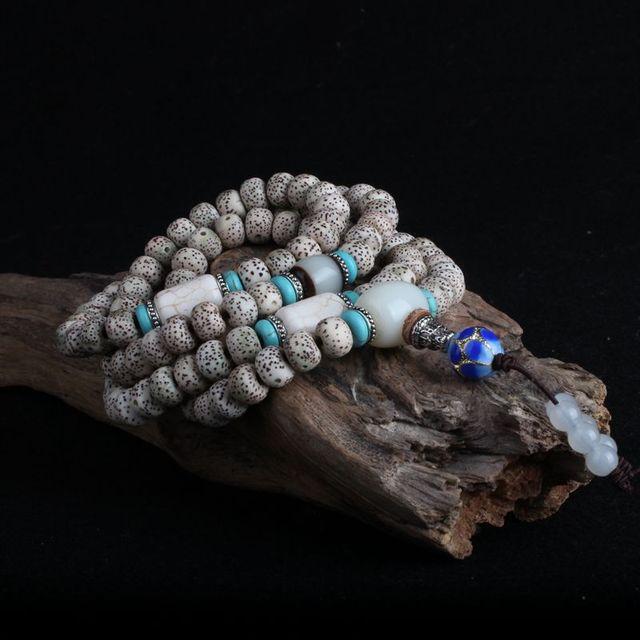 JoursNeige Um XingYue Bodhi Pulseira de Miçangas 108 Multilayer Vintage Amuleto Esculpido Pulseiras Budismo Tibetano Jóias de Madeira Natural
