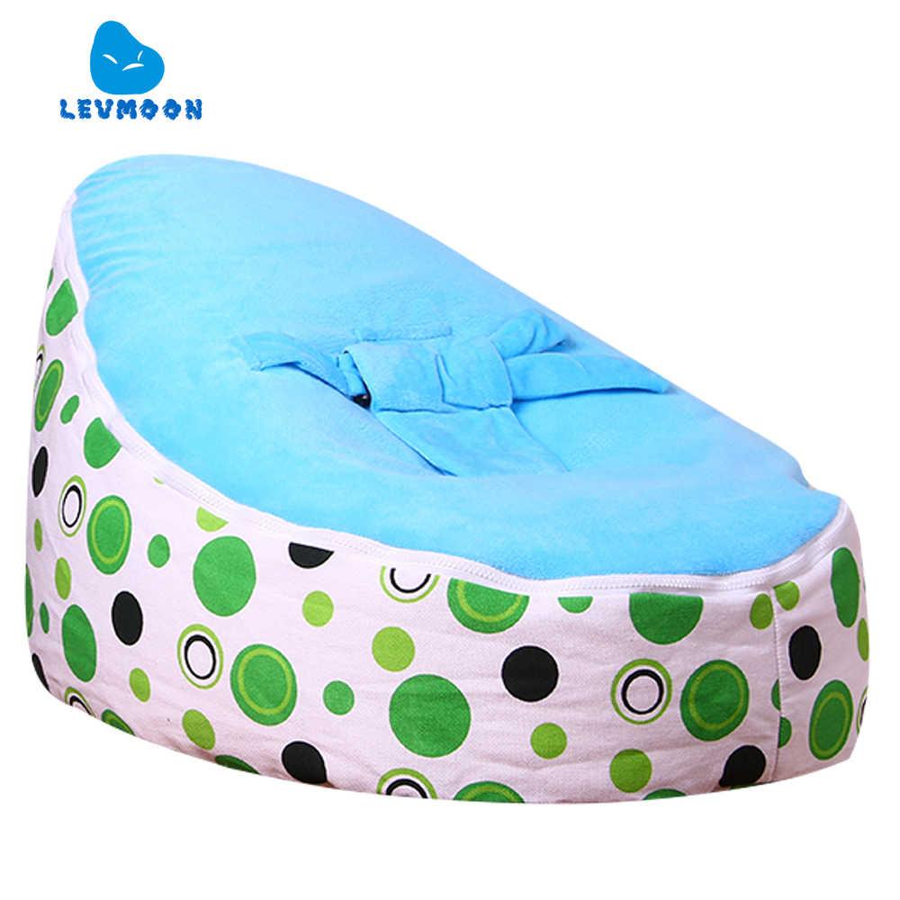 Levmoon Medium Groene Cirkel Print Zitzak Stoel Kids Bed voor Slapen Draagbare Vouwen Kind Seat Sofa Zac Zonder De Filler