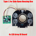 DIY 4pcs 42mil 850nm Array LED IR 10-100 Meters Square PCB Board Specialized for Side Door Open Waterproof CCTV Camera Housing