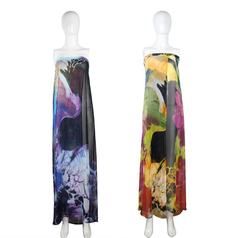 Chiffon Beach Swimsuit Cover Up Boho Colorful Floral Printed Off Shoulder Cardigan High Split Strappy Bandage Backless Womens