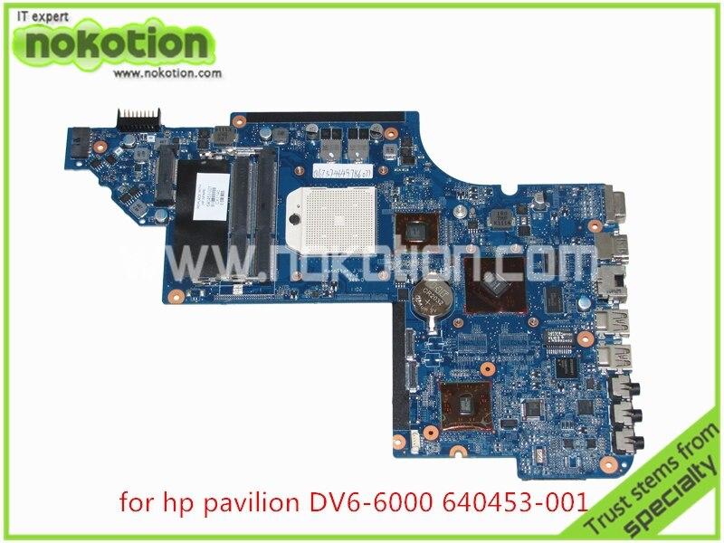 NOKOTION 640453-001 Laptop Motherboard for HP Pavilion DV6 DV6-6000 series HD4200+HD 6470M DDDR3 Mainboard nokotion hot sale 603643 001 laptop motherboard for hp dv6 4000 hm55 fully tested mainboard mother boards da0lx6mb6f2