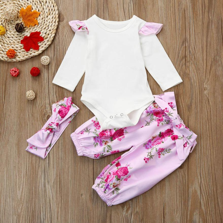 3M-18M Baby Girl Clothes Newborn Toddler Infant Autumn/Spring Cotton Baby Romper Tops+Pants+Headband Set Baby Clothing Sets