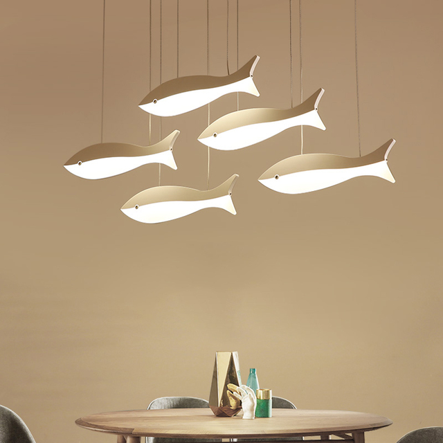 Restaurant Chandeliers Led Modern Minimalist Dining Room Lamp Creative  Personality Fish   Shaped Table Coffee Cafe
