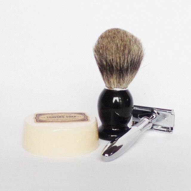 3pc/set Wood Handle Badger Shaving Brush Safety Razor with Soap