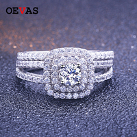 S925 Sterling Silver Rings set Luxury Brand 94 pieces AAA CZ Shiny Zircon Wedding Engagement Rings S925 Silver jewelry Dropship