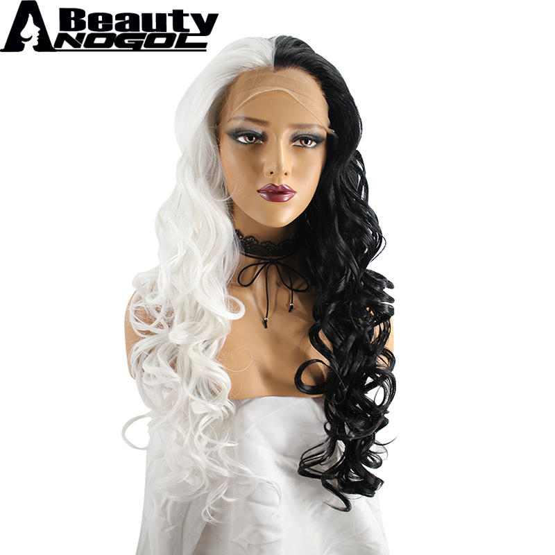 ANOGOL BEAUTY High Temperature Fiber Peruca Cabelo Long Body Wave Half White And Black Synthetic Lace Front Wig With Widow Peak ...