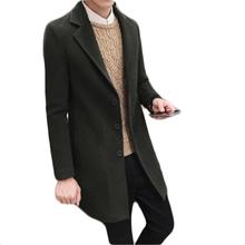 YJSFG HOUSE Brand Men Winter Wool Blend Warm Trench Coats Male Long Jackets Single Breasted Slim