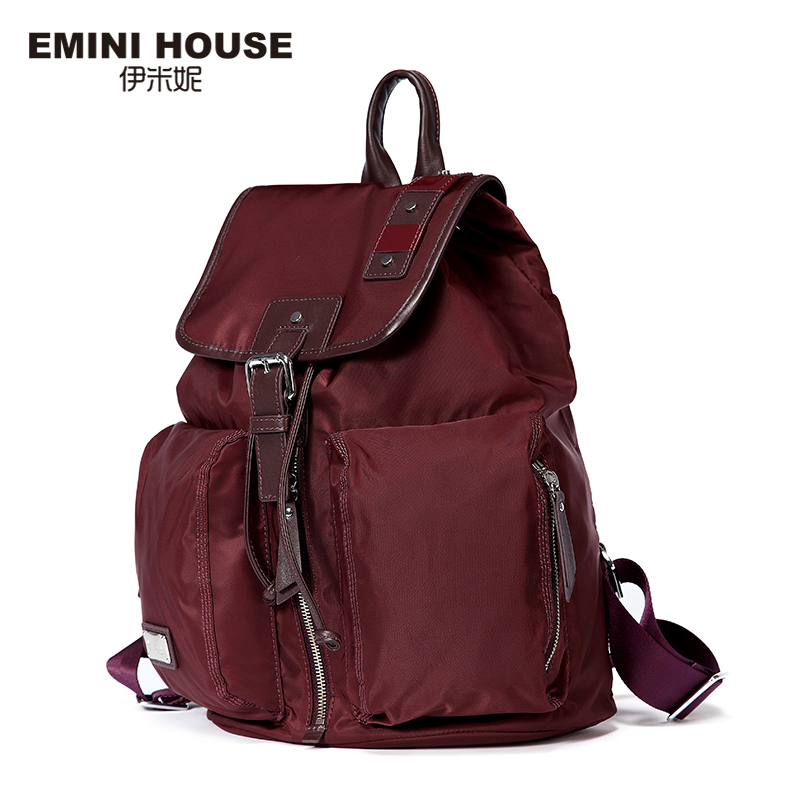 EMINI HOUSE Fashion Nylon Backpack Women Shoulder Bag Waterproof Travel Drawstring Bag Multifunction School Bags For Teenagers серьги fashion house даниэлла цвет серебряный белый