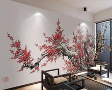 beibehang Custom wallpaper Chinese painting plum blossom TV background wall home decoration living room bedroom 3d wallpaper цены