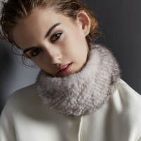 2016 Fashion Women Fur Scarf ,High Quality Handmade Winter wrap Knitted Real Mink Fur Scarves Women Headband Fur Ring