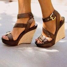 купить Summer Ultra High Wedges Heel Outdoor Sandals Fashion Open Toe Platform Elevator Women Gladiator Sandals Shoes Plus Size Pumps по цене 3497.79 рублей