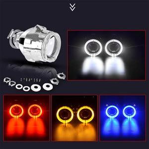 Image 4 - Lentille de projecteur au xénon HID, 2.5 pouces, avec masque argenté, yeux dange, Led H7 et H4, phares par prise H1, ampoule HID, LHD, RHD, décoration de voiture