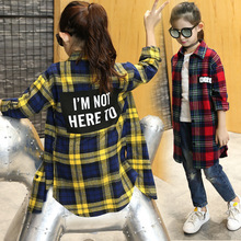 Girls Autumn New Cotton Long Sleeved Plaid Shirt Bag Hip Letters European Kids Clothing Red Yellow Letters Printing