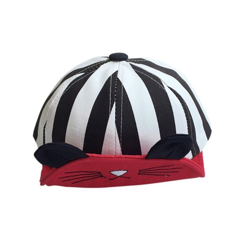 Fashion Cat Stripe Cotton Baby Beanie For Boys Girls Sun Hat Children Kids Summer Hats Accessories