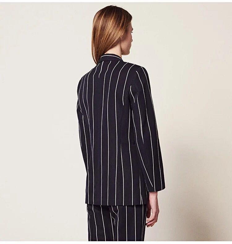 2019 nowych kobiet komplet garniturów pionowy pasek z długim rękawem i długie spodnie urząd Lady modny zestaw w Zestawy damskie od Odzież damska na  Grupa 3