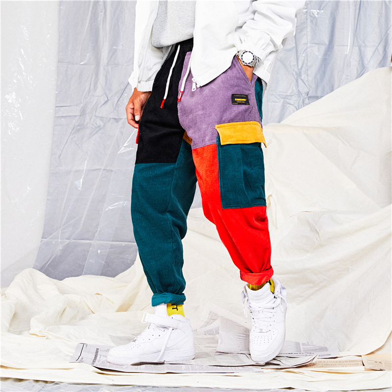 Trouser Pant Jogger Harem Color-Block Patchwork Vintage Corduroy Cargo Cotton Hip