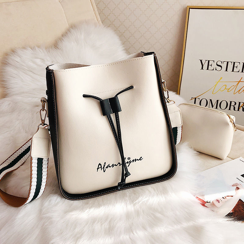 Fashion Bucket Shoulder Bag Women Drawstring High Quality Crossbody Bag Female Messenger Bags Ladies Synthetic Leather Handbag
