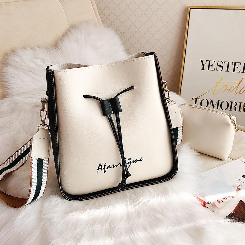 Fashion Bucket Shoulder Bag Women Drawstring High Quality Crossbody Bag Female Messenger Bags Ladies Synthetic Leather Handbag